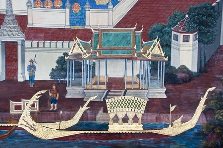Vintage traditional Thai style art painting on temple for background. The temple is open to the public domain and has beautiful murals on the walls. Stock Photo - 11414489