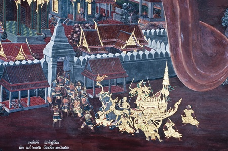 Vintage traditional Thai style art painting on temple for background. The temple is open to the public domain and has beautiful murals on the walls. Stock Photo - 11414524