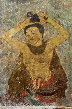 Vintage traditional Thai style art painting on temple for background. The temple is open to the public domain and has beautiful murals on the walls. Stock Photo - 11707728