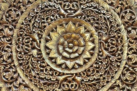 thai handmade native pattern woodcraft on white photo