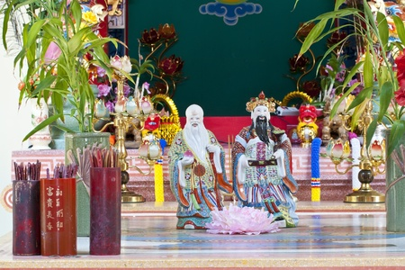 daunting: traditional kind in Chinese temple Editorial