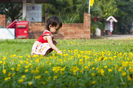 Asian little girl in green Lawn photo