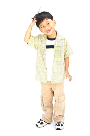Asian little boy isolated on white background photo