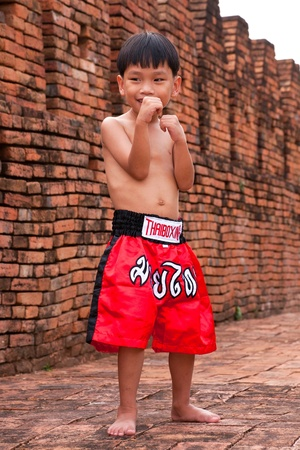 Thai people in the history use Muay Thai for fought and protection thai boxing letters on the pants and belt without banner but use calling name sport  muay thai Stock Photo - 13485400