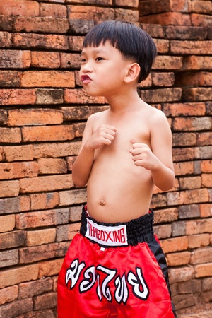 Thai people in the history use Muay Thai for fought and protection thai boxing letters on the pants and belt without banner but use calling name sport  muay thai  Stock Photo - 13485386