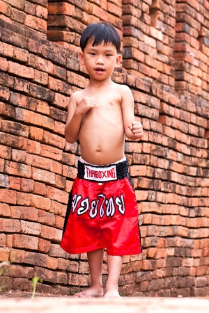 challenger: Thai people in the history use Muay Thai for fought and protection  Stock Photo
