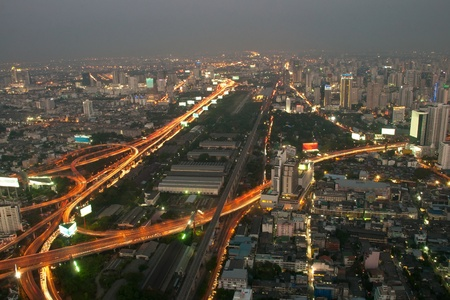 Bangkok and express way view point from Baiyok building  photo