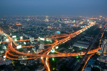 Bangkok and express way view point from Baiyok building  Stock Photo