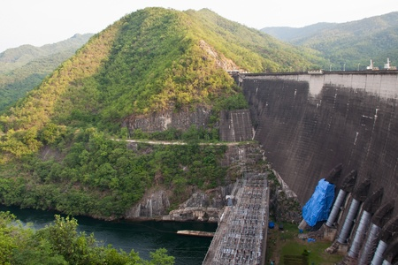 The Bhumibol Dam formerly known as the Yanhi Dam  in Thailand  The dam is situated on the Ping River and has a capacity of 13,462,000,000 cubic meter  photo