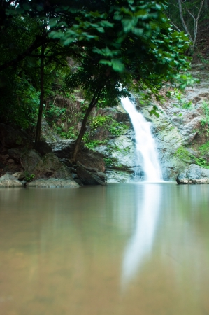 environmen: Waterfall in forest, Waterfall is a place that will make you relax and fresh   in Nan Province of Thailand Stock Photo