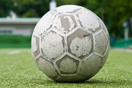 old football or soccer ball on the grass photo