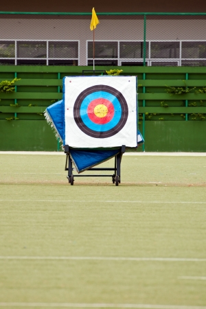 Archery shooting target in the field stadium photo