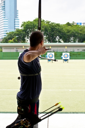 practice archery, sport of the Thai national team at Rajamangala National Stadium