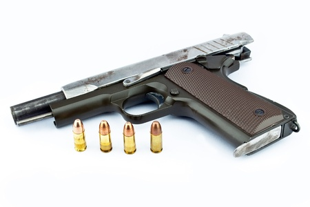9-mm handgun and target shooting photo