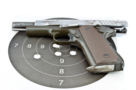 9-mm handgun and target shooting photo
