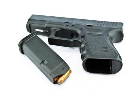 9-mm handgun automatic on white background Stock Photo - 14763885