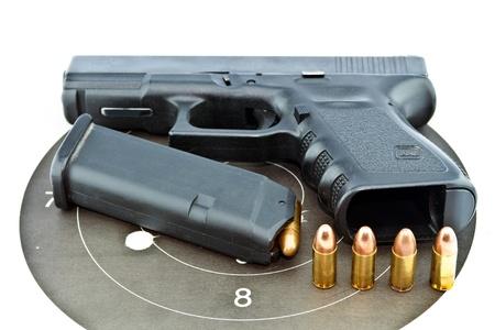 9-mm handgun automatic on white background Stock Photo - 14763963