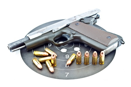 9-mm handgun automatic on white background Stock Photo - 14763888