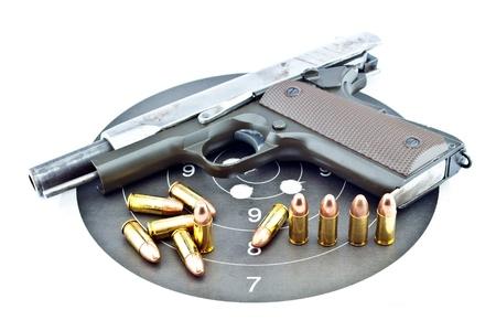 9-mm handgun automatic on white background Stock Photo - 14763888