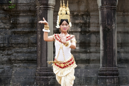 SIEM REAP, CAMBODIA - MARCH 04, 2012: Khmer classical dancer performing in full traditional costume MARCH 28, 2012 in Siem Reap, Cambodia.Angkor Wat is the most visited place in Cambodia. Editorial