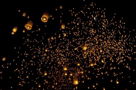 Sky lanterns firework festival,Chiangmai ,Thailand, Loy Krathong and Yi Peng Festival photo