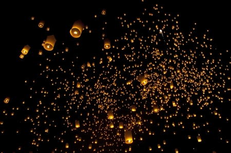 paper lantern: Sky lanterns firework festival,Chiangmai ,Thailand, Loy Krathong and Yi Peng Festival