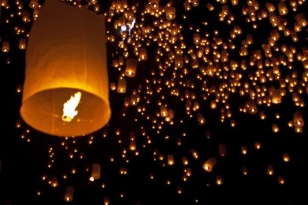 yeepeng: Sky lanterns firework festival,Chiangmai ,Thailand, Loy Krathong and Yi Peng Festival