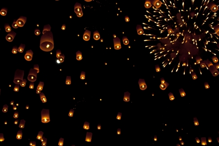 chirstmas: Sky lanterns firework festival,Chiangmai ,Thailand, Loy Krathong and Yi Peng Festival