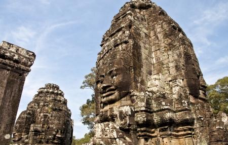 Faces of Bayon temple,Angkor Wat stone carvings of faces,Cambodia photo