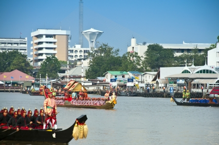 BANGKOK,THAILAND - NOVEMBER 06:The Royal Barge Procession Exercises on the occasion for Royal Kathin ceremony which will take place at Wat Arun Ratchavararam,November 06,2012 in Bangkok,Thailand.