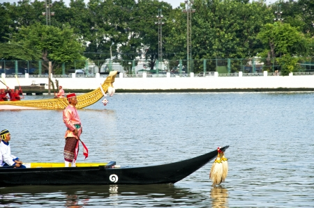 BANGKOK,THAILAND - NOVEMBER 06:The Royal Barge Procession Exercises on the occasion for Royal Kathin ceremony which will take place at Wat Arun Ratchavararam,Novem ber 06,2012 in Bangkok,Thailand. Stock Photo - 16309650