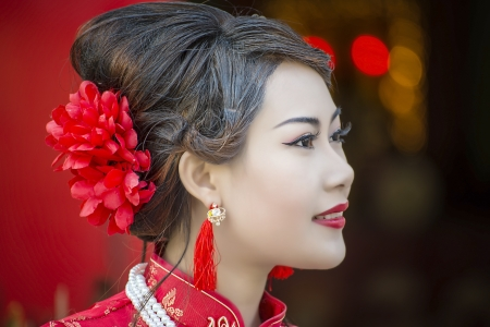 traditional clothes: Chinese girl in traditional Chinese cheongsam blessing