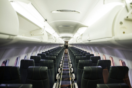 interior of the passenger airplane (airplane seats) photo