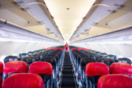 room decorations: defocus  interior of the passenger airplane Stock Photo