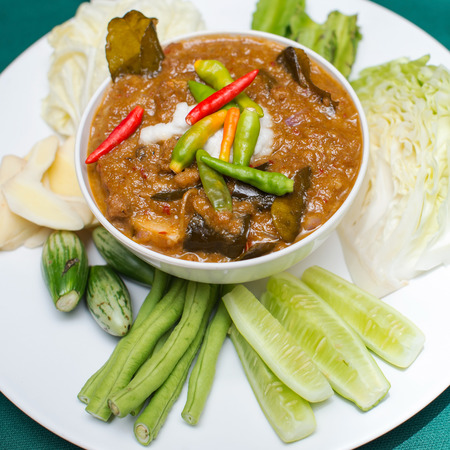 potherbs: preserved vegetables ,Herbed Soya Beans with Minced Shrimp and Pork in Coconut Milk served with Fresh Vegetables