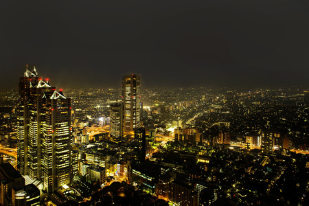 Cityscape of Tokyo, the view from free observator of Tokyo Metroplitan Government building at 45th floor.