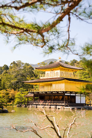 two floors: Kinkakuji Golden Pavilion is a Zen temple in northern Kyoto whose top two floors are completely covered in gold leaf. Editorial