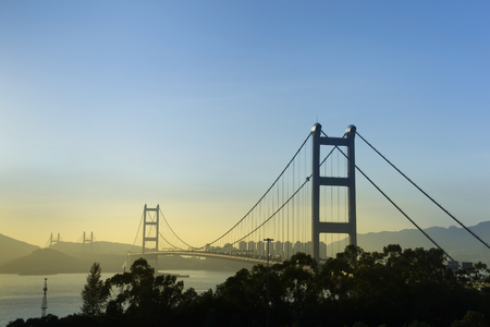 Hong Kong Bridge,It is beautiful Tsing Ma Bridge at sunset in Hong Kong