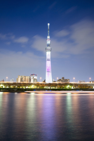 sumida ward: Tokyo city view and Sumida river. The Sky Tree at a summer night.