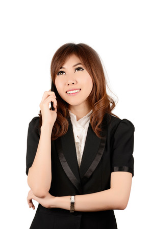 sidewalk talk: Businesswoman on cellphone running while talking on smartphone. Happy smiling mixed race Asian  Caucasian business woman busy. Image on white background