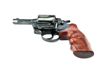 barrel pistol: black revolver handgun with bullets isolated on isolate background. (gun target firearms shoot sights violence)