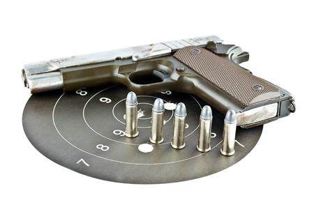 firearms: 9-mm handgun and target shooting (gun target firearms shoot sights violence) Stock Photo