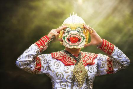 india dance: Thailand culture Dancing art in masked Khon hanuman that high classical of dance in Siam Bangkok thai ,india,cambodia asia story show Stock Photo