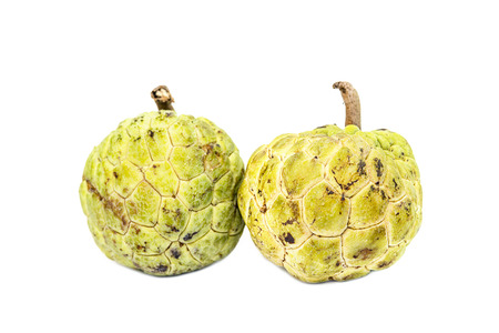 sweetsop: Two custard apple  (Sugar-Apple, Annona, sweetsop) Isolate on white background ,Asian-fruit