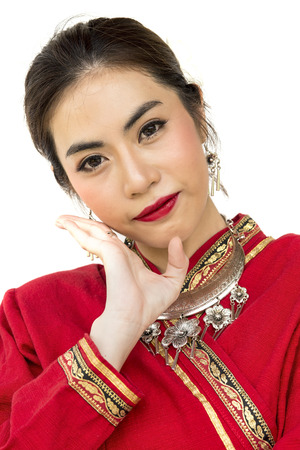 Thai women with traditional Thai lanna suit in Studio Stock Photo