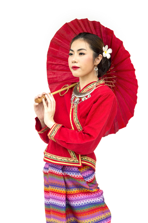 Thai women with traditional Thai lanna suit isolate white background