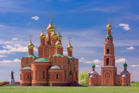 sobor: Achairsky monastery. Sobor Uspeniya Presvyatoy  Bogoroditsy and bell tower with pridelami Kirilla  and Mefodiya. Stock Photo