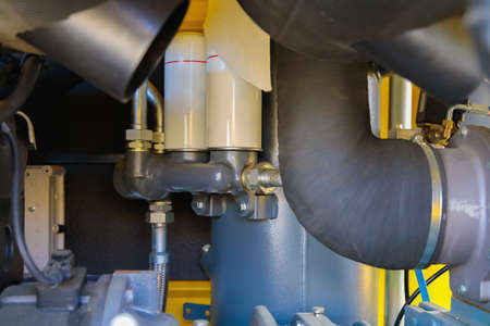 Internal details of portable compressors close-up