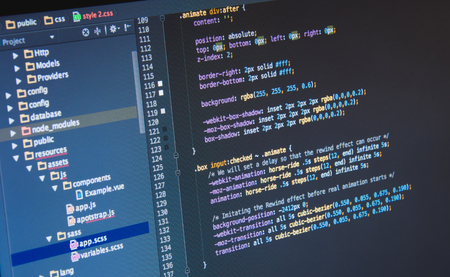 Making Css3 code in IDE, close up Stock Photo