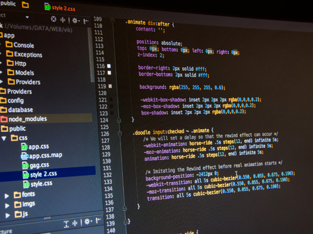 Css3 code on dark background in the code editor, close up Stock Photo